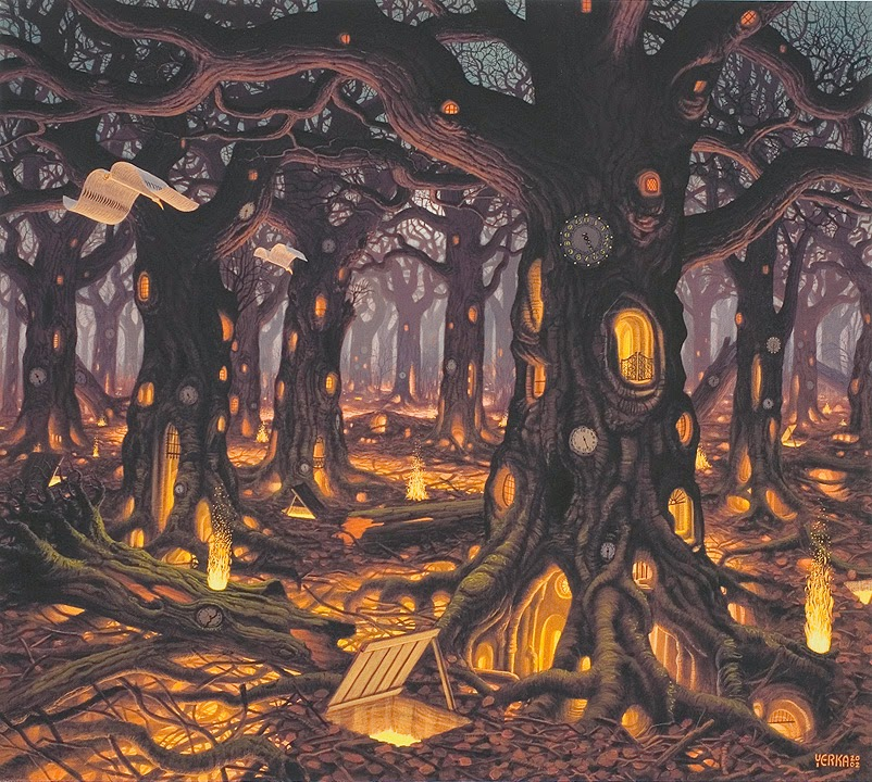 02-Autumn-Jacek-Yerka-Surreal-Paintings-Parallel-Universes-www-designstack-co