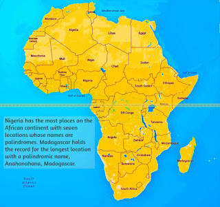Nigeria has the most places on the African continent with seven locations whose names are palindromes