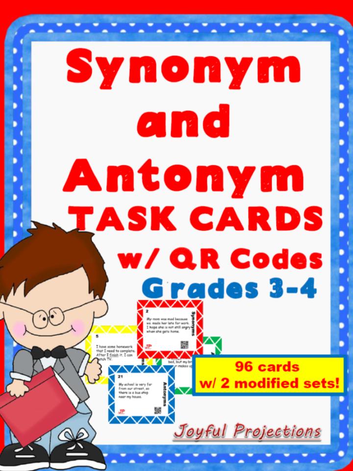https://www.teacherspayteachers.com/Product/Synonym-and-Antonym-TASK-CARDS-w-QR-Codes-96-cards-1742633