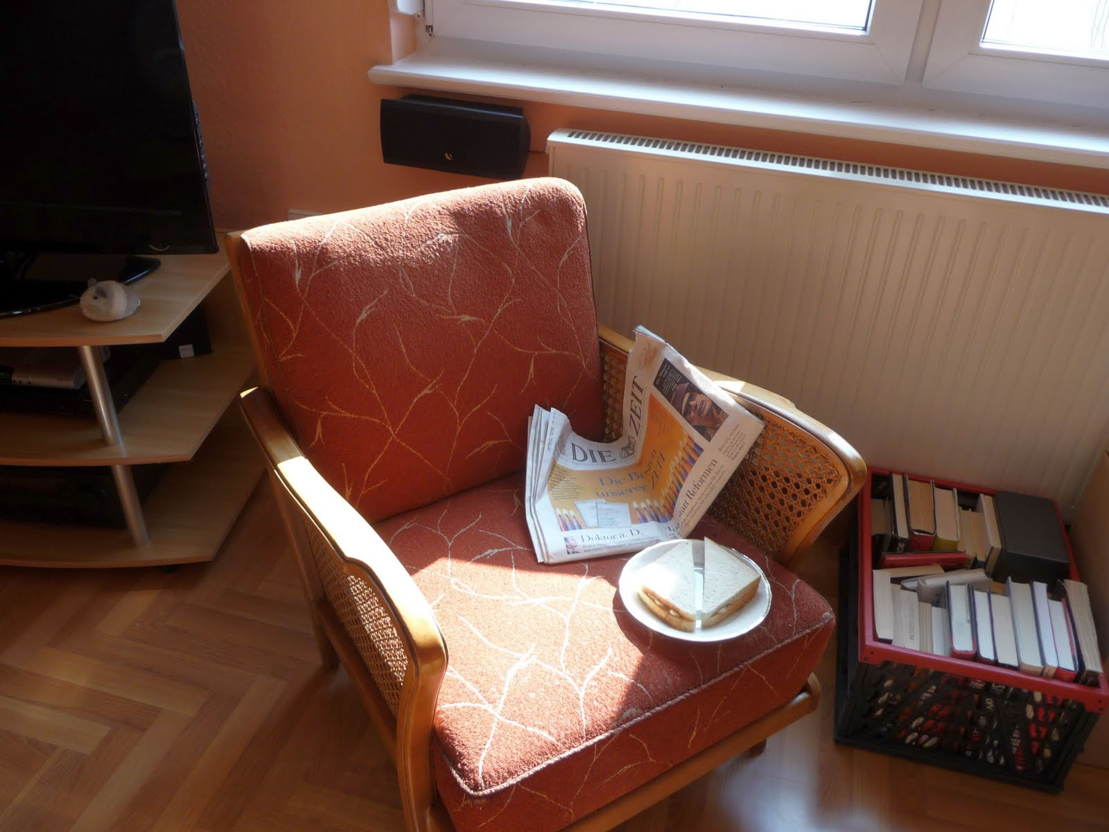 After I Was Done With The Cleaning, I Took My First Break In My New Old  Armchair, Reading The Paper And Having A Sandwich.