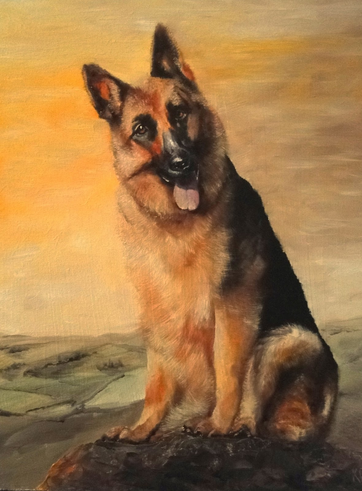oil painting of a German Shepherd on a golden background. A pet portrait by Karen
