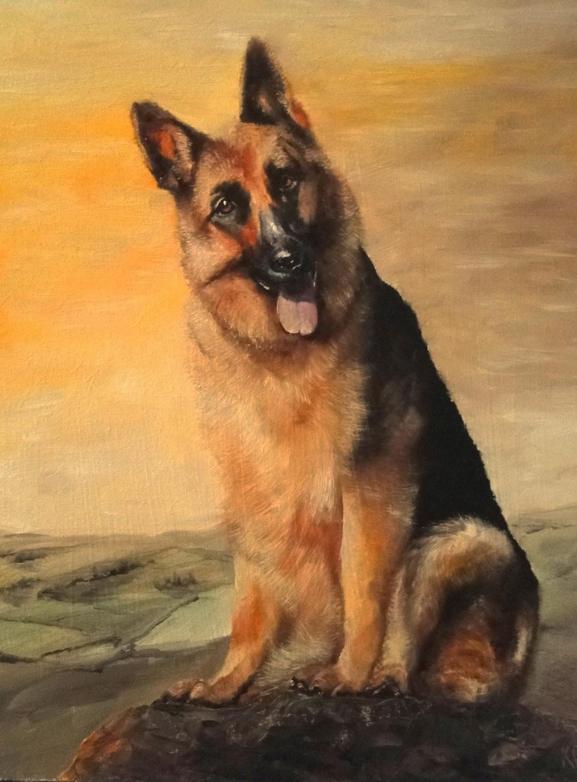 oil painting of a German Shepherd on a golden background. A pet portrait by Karen