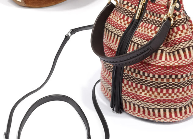 Navajo knit bucket bag