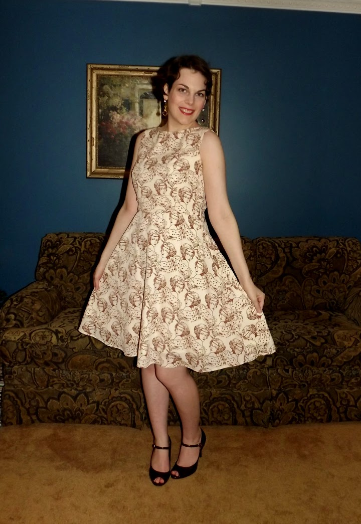 Modcloth dress, modcloth.com, Fabulous Flapper dress, Myrtlewood, Modcloth exclusive, flapper face print dress, white dress, longer length, gold outline face, higher neckline, a line, 1920s, 20s, vintage style, retro, roaring 20s, Suzanne Amlin, A Coin For the Well, Windsor Ontario fashion blog, style blogger, Besame cosmetics, Titanic earrings