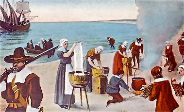 "This colorized version depicts the origin of the traditional ""Monday wash day"" in New England"