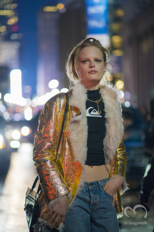 Model Hanne Gaby Odiele Leaving Rag and Bone 2014 Fall Winter RTW Fashion Show during NYFW