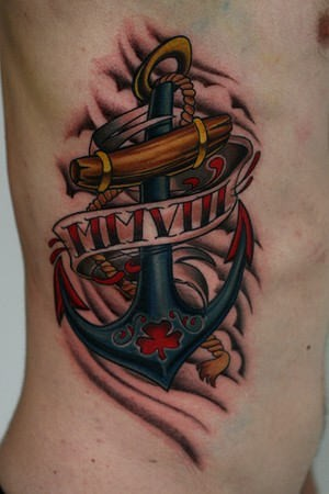 Great colorful anchor tattoo on ribs