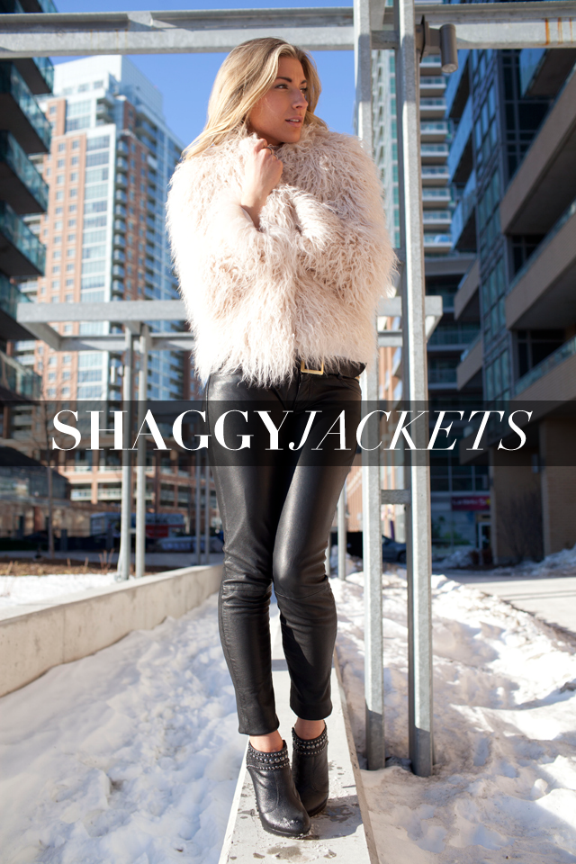 Zara shag jacket, All Saints Leather Pants, Shag Jacket