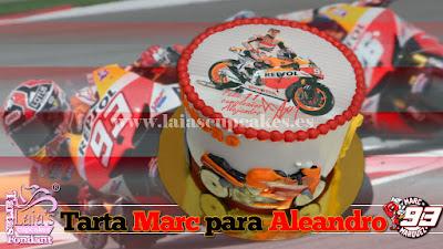 Tarta de fondant con impresión comestible Marc Marquez Laia's Cupcakes Puerto Sagunto