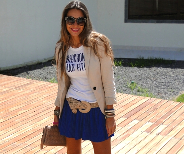 saia plissada com blazer 01 Look do dia   Anabela color block ...