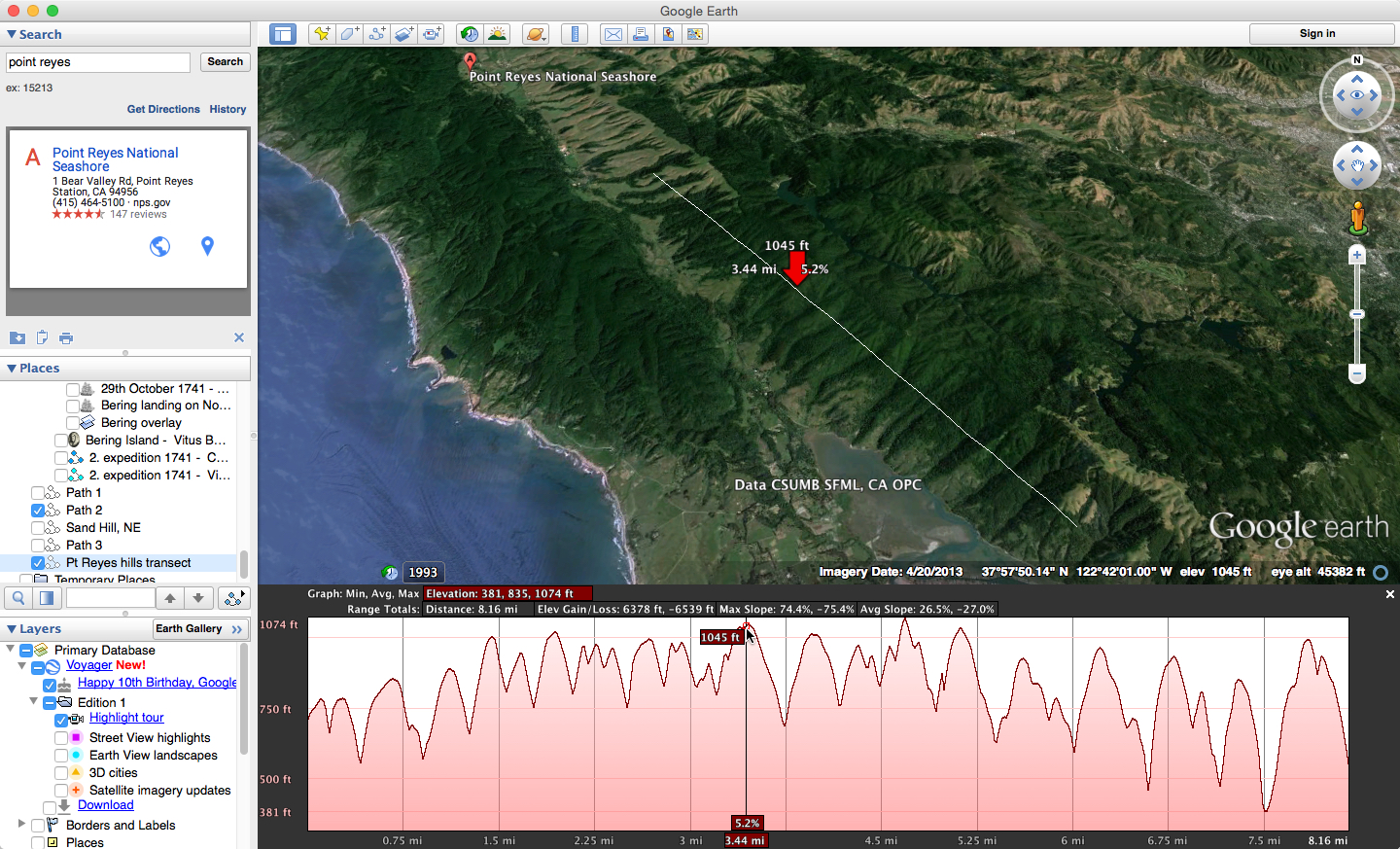 how to look at elevation on google earth