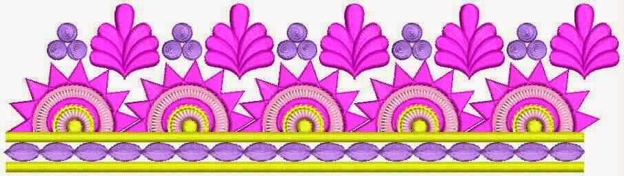 Lang blomme borduurwerk ontwerp Kant grens