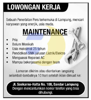 Lowongan Kerja MAINTENANCE Lampung