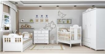 Decoração de quarto de bebê - bicama , berço e cômoda