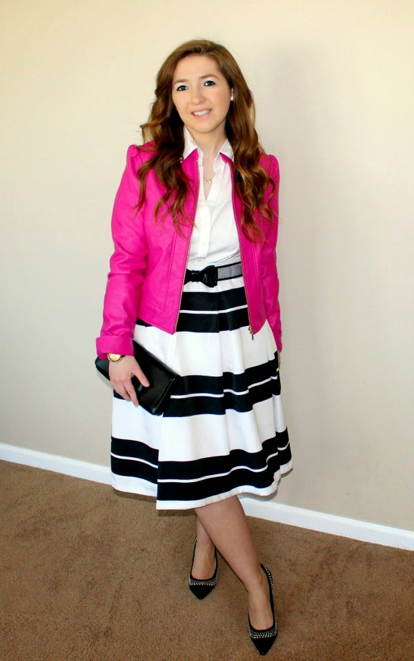 express-original-essential-top, express-high-waist-striped-midi-skirt, hot-pink-leather-jacket, inc-international-concepts-leather-jacket, white-house-black-market-mesh-bow-belt, white-house-black-market-embellished-pointed-toe-heels, kate-spade-new-york-bow-necklace, movado-bold-luxe-chronograph-watch,
