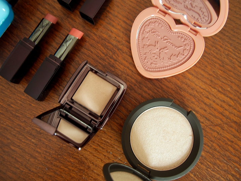 too faced baby love blush, becca shimmering skin perfector opal, hourglass ambient lighting powder dim light