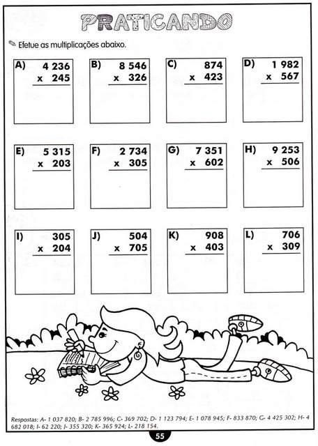 atividades com multiplicação para o 4 ano