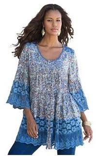 Roaman's Illusion Lace Bigshirt