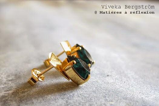 Bijoux Viveka Bergstrom Boucles d'oreilles cristal émeraude plaqué or