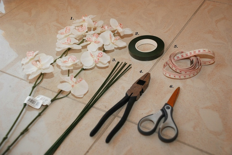 DIY floral crown, floral crown, orchid, flourist tape, floral wire,