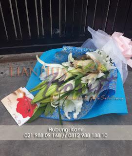 Bouquet bunga lily, toko bunga dijakarta selatan, toko bunga indah kapuk, rangkaian bunga lily, toko bunga jakarta, florist jakarta