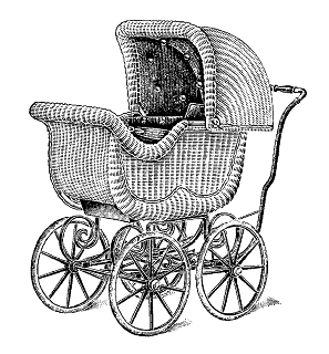 digital baby carriage illustration