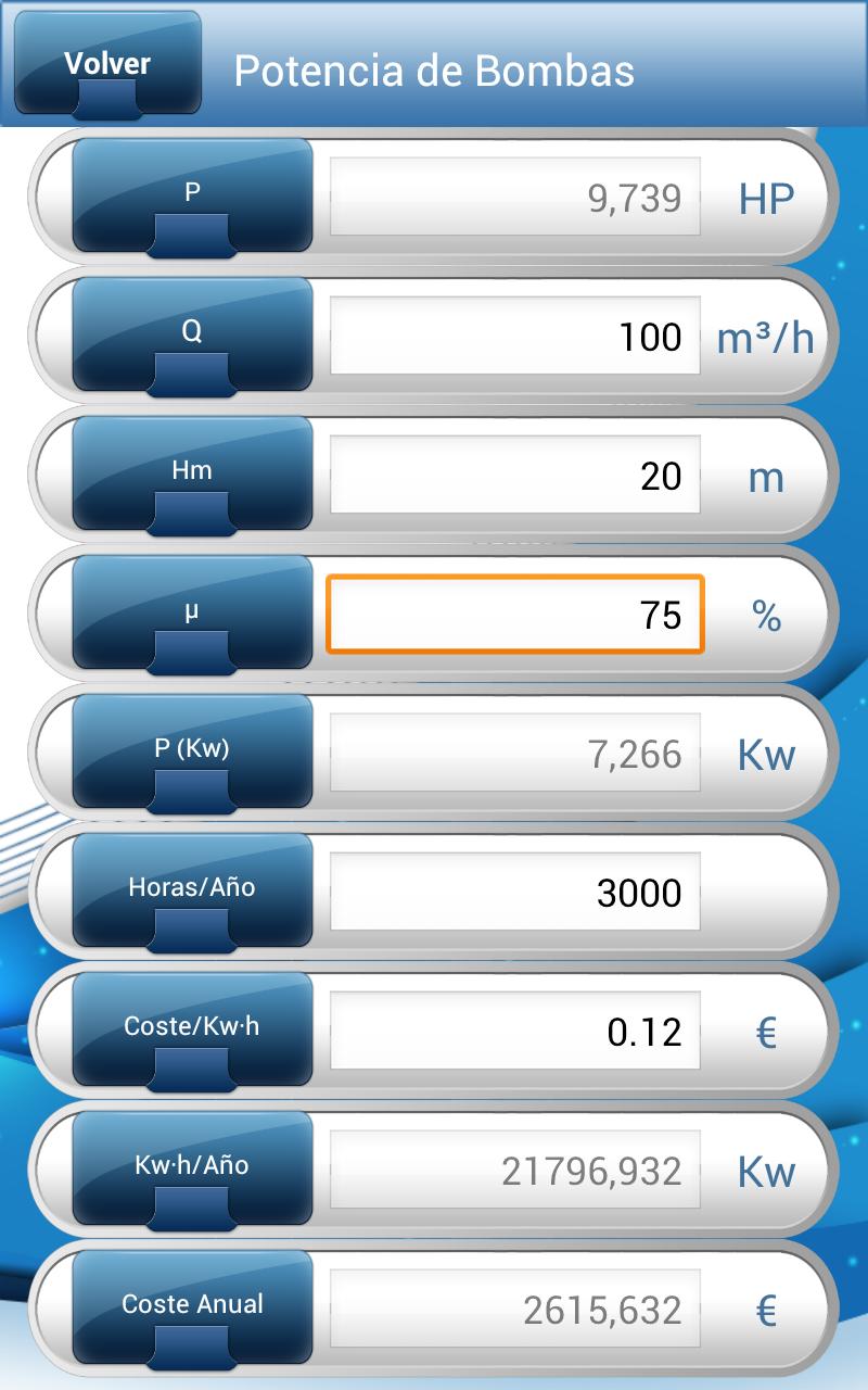 cálculo de potencia de bombas con pump calculus