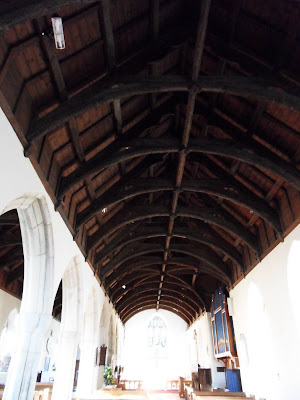 Roof timbers of St Symphorian church, Veryan, Cornwall