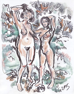 women, nature, nudity, female body, art, drawing, aquarell, painting, austria, lobau, dechantlacke