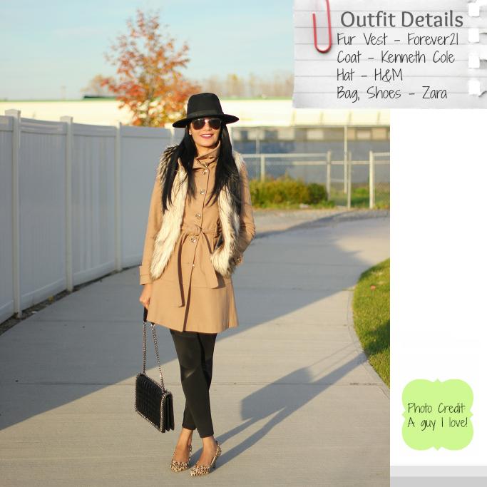 Faux fur vest outfit ideas, How to layer fur vest, affordable fur vests, camel wool coat