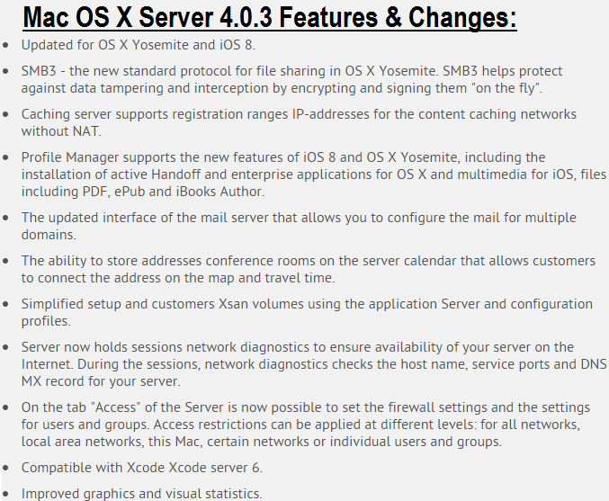 Mac OS X Server 4.0.3 Features & Changes