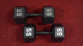 a pair of black 55 pound dumbbells