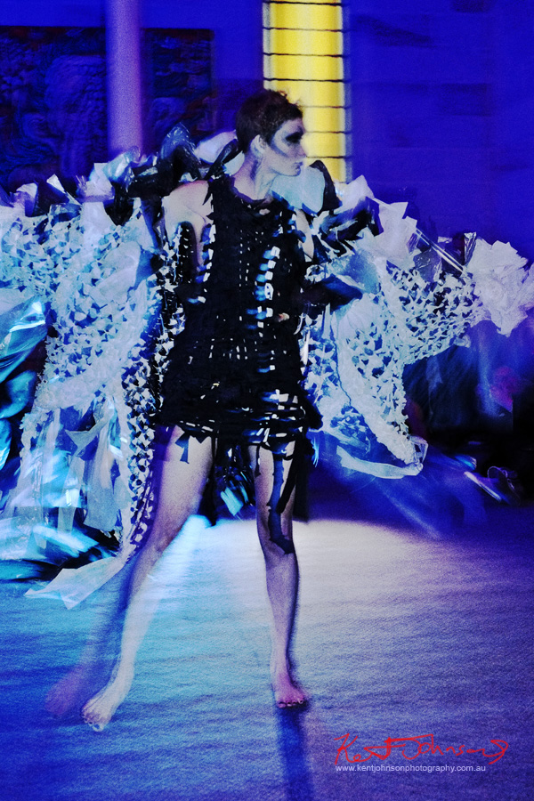 Plastic bag couture cape, Raw to Recycled by Dehautt - Photographed by Kent Johnson.