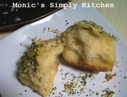 Bagian dalam lembut garlic cheese bread
