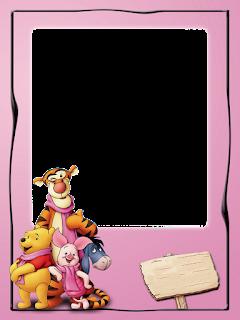 Caratula rosada para cuadernos de winnie the pooh -