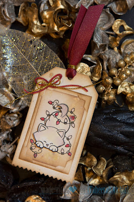 Holiday Kitty Tag by Taheerah Atchia using Newton's Antics stamp set