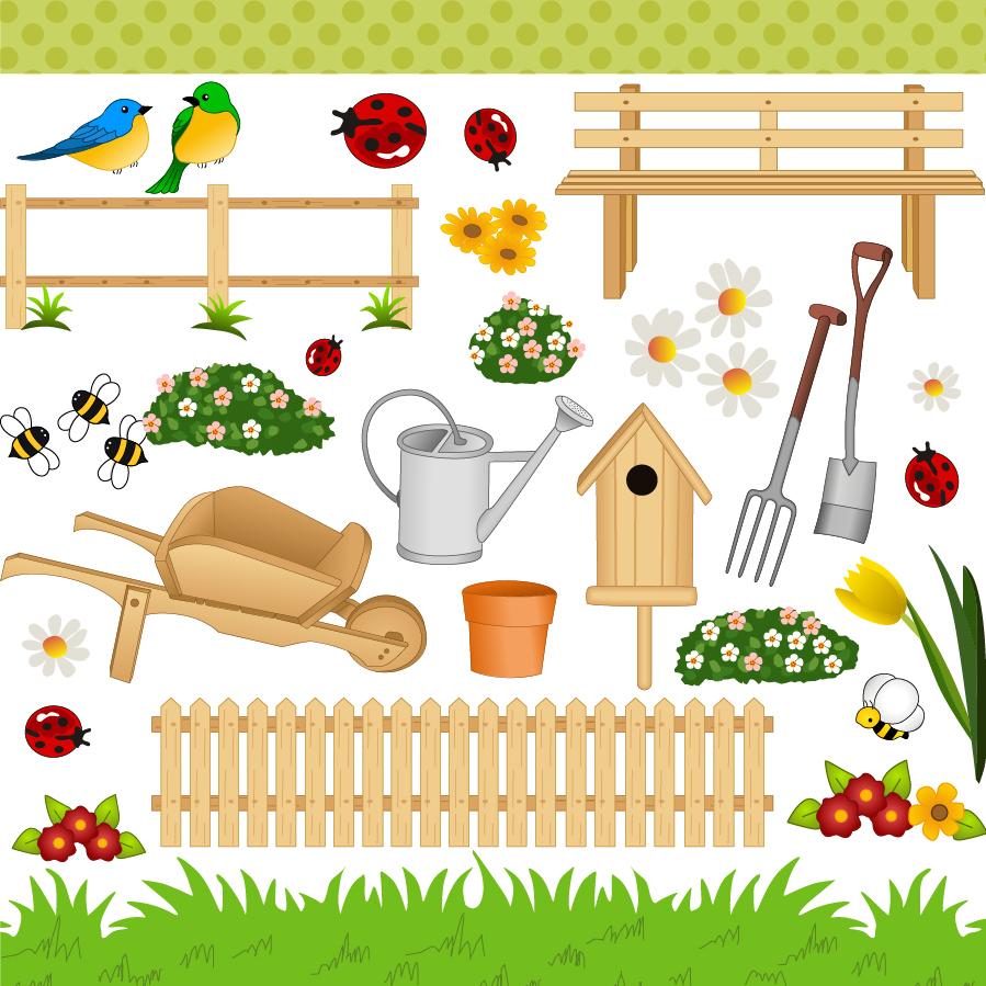 ガーデニング用品 cartoon gardening art vector material イラスト素材