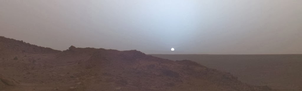 Sunset on Mars, taken in 2005 by the Spirit rover.