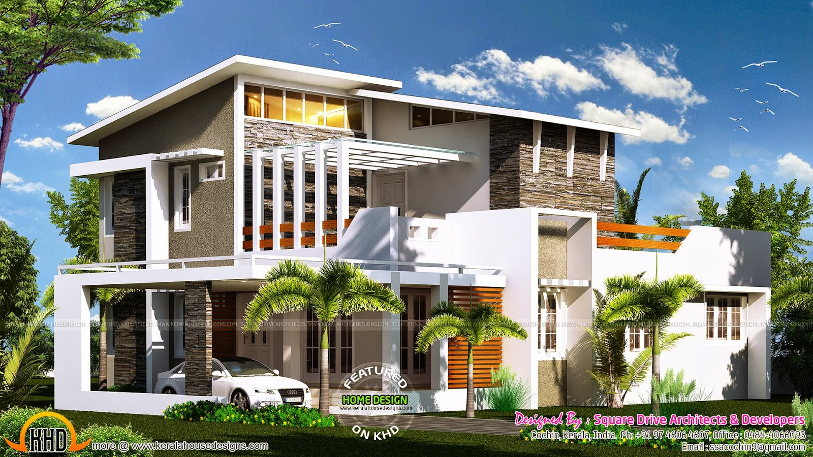 2000 sq ft modern contemporary house plan kerala home for Home designs 2000 sq ft