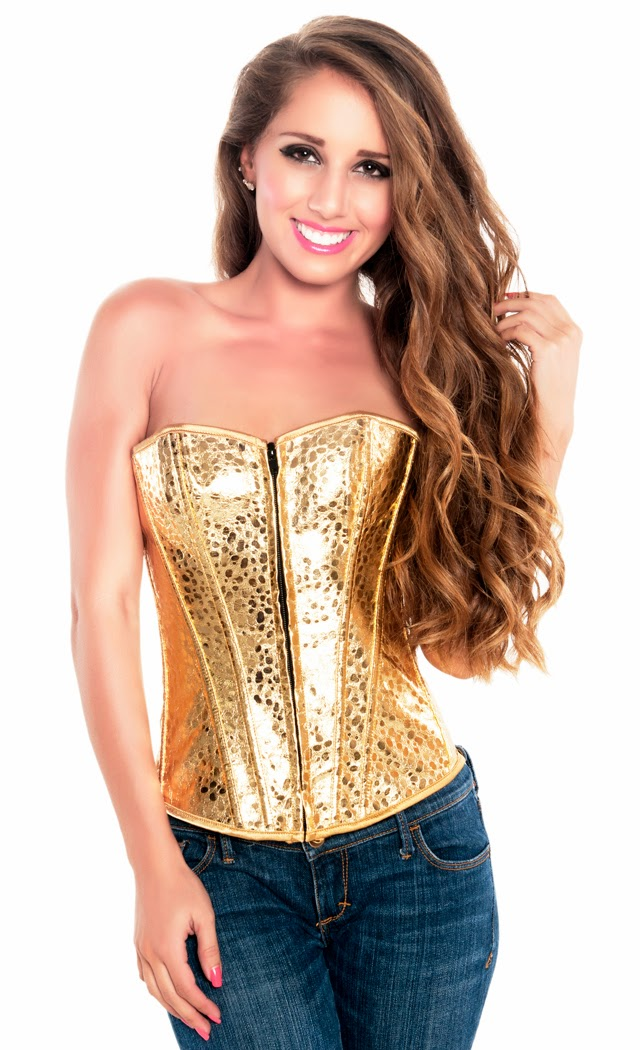 Women's Shiny Golden Overbust Burlesque Zipper Corset Top