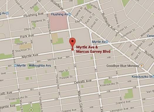 Myrtle Ave. and Marcus Garvey, Google Maps