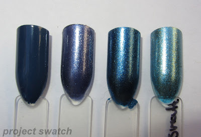 swatches - 1 - Sinful Colors Rain Storm, 2 - Sinful Colors Precious Metal, 3 - WnW Chrome Grew Up In Cobalt-imore, 4 - WnW Chrome Stay Outta My Bismouth