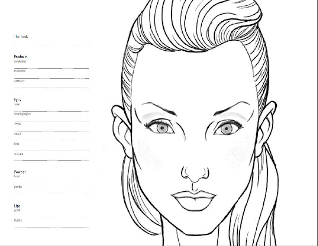 Blank face template for hair and makeup