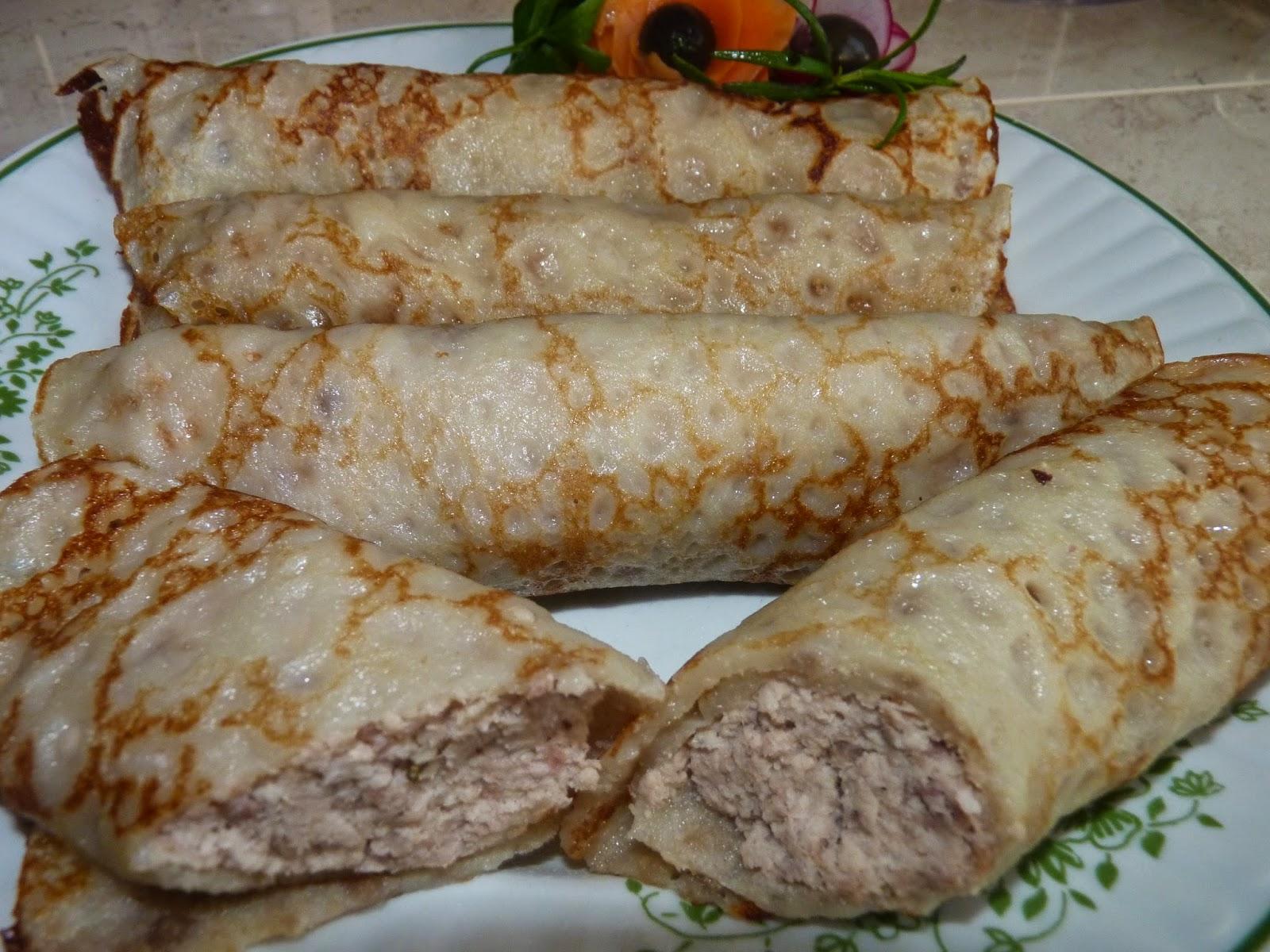 Naleśniki z mąki słonecznikowej z mięsem