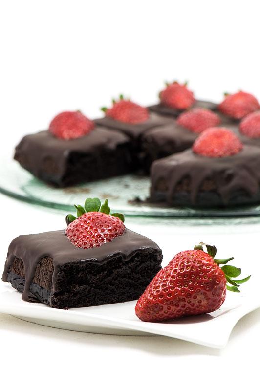 Chocolate strawberry cubes dark chocolate focus on one cube