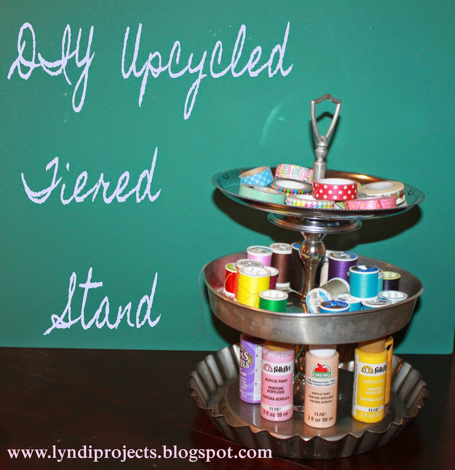 tin tiered stand, upcycled pie tins