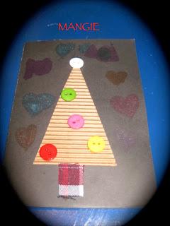 Christmas árbol papel, botones y tela