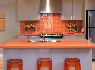 Great orange cabinet small kitchens design
