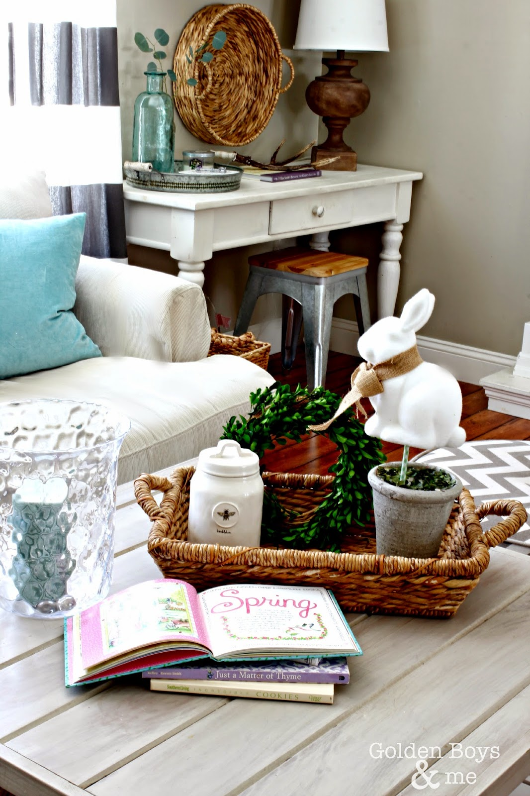 Target Dollar Spot bunny topiary in Smith and Hawken basket with spring decor-www.goldenboysandme.com