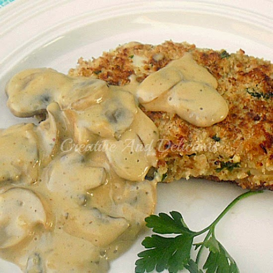 Tender, juicy Lemon Chicken Schnitzels in a Low-Fat Mushroom Sauce !  Healthy & delicious